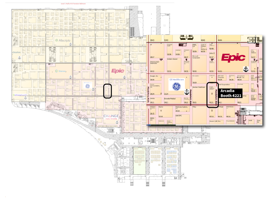 Arcadia HIMSS18 Map Booth #4221